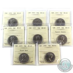 50-cent 1970, 1971, 1973, 1976, 1977, 1978 Square Jewels, 1979 Round Bust & 1980 ICCS Certified MS-6