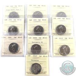 50-cent 1982 Large Beads Type 1, 1987, 1988, 1990, 1993, 1997, 2000, 200W NBU, 2001P & 2002P Ascensi