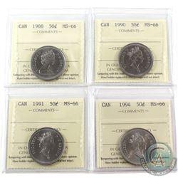 50-cent 1988, 1990, 1991 & 1994 ICCS Certified MS-66. 4pcs