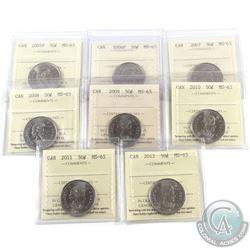 50-cent 2005P, 2006P, 2007, 2008, 2009, 2010, 2011 & 2012 ICCS Certified MS-65. 8pcs