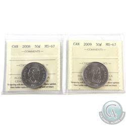 50-cent 2008 & 2009 ICCS Certified MS-67. 2pcs
