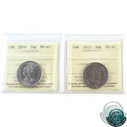 50-cent 2009 & 2013 ICCS Certified MS-67. Both coins tied for finest known. 2pcs