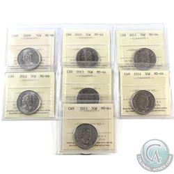 50-cent 2009, 2010, 2011, 2012, 2013, 2014 & 2015 ICCS Certified MS-66. 7pcs