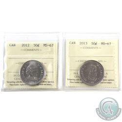 50-cent 2012 & 2013 ICCS Certified MS-67. 2pcs