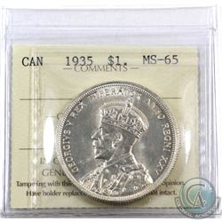 Silver $1 1935 ICCS Certified MS-65. Full lustrous strike.