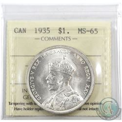 Silver $1 1935 ICCS Certified MS-65. Nice bright white coin.
