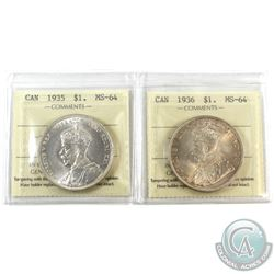 Silver $1 1935 & 1936 ICCS Certified MS-64. 2pcs