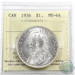 Silver $1 1936 ICCS Certified MS-64. Blast white!
