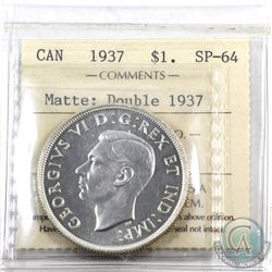 Silver $1 1937 Double '1937' ICCS Certified SP-64 Matte finish. A unique variety on a rare specimen