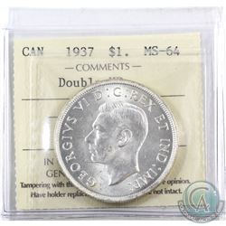 Silver $1 1937 Double HP ICCS Certified MS-64.