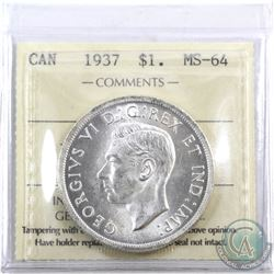 Silver $1 1937 ICCS Certified MS-64