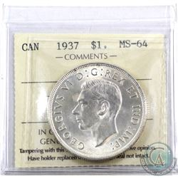 Silver $1 1937 ICCS Certified MS-64. An attractive full white coin with a soft satin finish.