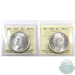 Silver $1 1937 & 1938 Both ICCS Certified MS-63! An attractive pair both near full white coins. 2pcs