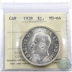 Silver $1 1938 ICCS Certified MS-64. A choice eye appeal coin with soft accents of golden tones.
