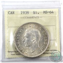 Silver $1 1938 ICCS Certified MS-64. Light rose toning over frosted fields.