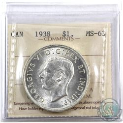 Silver $1 1938 ICCS Certified MS-63