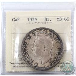 Silver $1 1939 ICCS Certified MS-65! A fully toned coin with hues of rose red and deep blues.