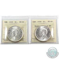 Silver $1 1939 Double Punched HP & 1939 Regular ICCS Certified MS-64. Blast white coins! 2pcs