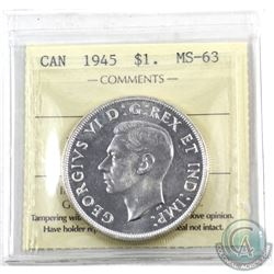 Silver $1 1945 ICCS Certified MS-63. Nice Brilliant Coin with mirror finishes.