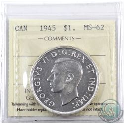 Silver $1 1945 ICCS Certified MS-62.