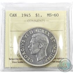 Silver $1 1945 ICCS Certified MS-60.