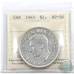 Silver $1 1945 ICCS Certified AU-50