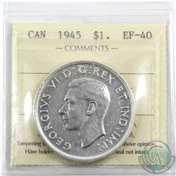 Silver $1 1945 ICCS Certified EF-40