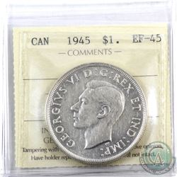 Silver $1 1945 ICCS Certified EF-45.