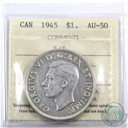 Silver $1 1945 5 Over 5 ICCS Certified AU-50