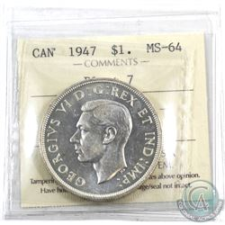 Silver $1 1947 Blunt 7 ICCS Certified MS-64. An exceptional strike.