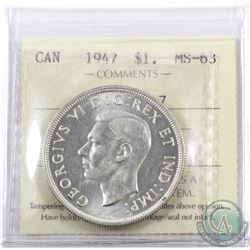 Silver $1 1947 Blunt 7 ICCS Certified MS-63.