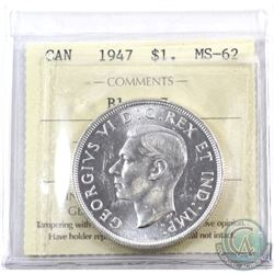 Silver $1 1947 Blunt 7 ICCS Certified MS-62