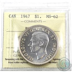 Silver $1 1947 Blunt 7 ICCS Certified MS-62.