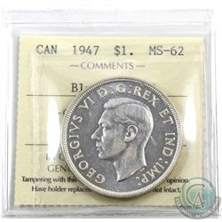 Silver $1 1947 Blunt 7, 7/7 Variety ICCS Certified MS-62. The 7 over 7 variety is very clearly defin