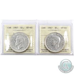 Silver $1 1947 Blunt 7 & 1947 Pointed 7 ICCS Certified EF-40. 2pcs