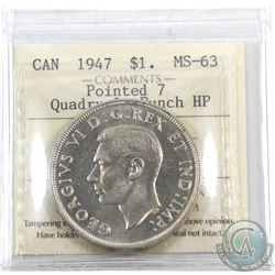 Silver $1 1947 Pointed 7, 4x HP ICCS Certified MS-63. A bright flashy coin.