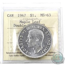 Silver $1 1947 Maple Leaf, 2x HP, ICCS Certified MS-63. An exceedingly difficult coin in mint state.