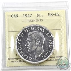 Silver $1 1947 Maple Leaf, ICCS Certified MS-62. A full white coin with crisp strike details. A much