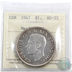 Silver $1 1947 Maple Leaf ICCS Certified AU-55