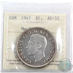 Silver $1 1947 Maple Leaf ICCS Certified AU-55