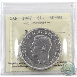 Silver $1 1947 Maple Leaf ICCS Certified AU-50.