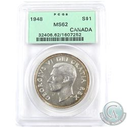 Silver $1 1948 PCGS Certified MS-62. Nice white key date coin with golden toning around both sides o