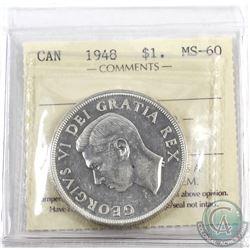 Silver $1 1948 ICCS Certified MS-60. *KEY DATE*