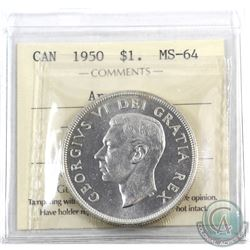 Silver $1 1950 Arnprior ICCS Certified MS-64. A nice choice brilliant example of this rarer variety.
