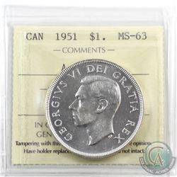 Silver $1 1951 Arnprior ICCS Certified MS-63. Full original lustre, blast white