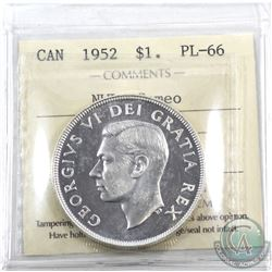 Silver $1 1952 NWL ICCS Certified PL-66 Cameo! A pristine coin with exceptional eye appeal!