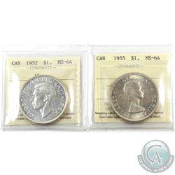 Silver $1 1952 WL & 1955 ICCS Certified MS-64. 2pcs