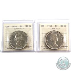 Silver $1 1953 SF & 1953 NSF ICCS Certified MS-64. 2pcs