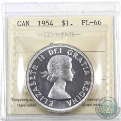 Silver $1 1954 ICCS Certified PL-66 Cameo. Blast white with a deep cameo, could even be considered H