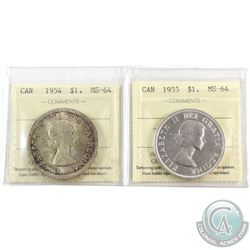 Silver $1 1954 & 1955 ICCS Certified MS-64. 2pcs